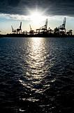 Industrial harbor silhouette