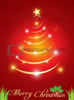 abstract  christmas tree with sparkle