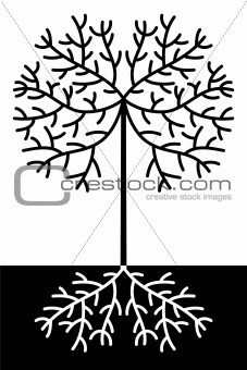abstract black and white tree