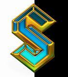 Gold Stylized S alphabet