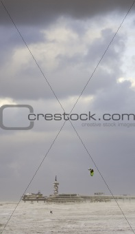 Kite surfing on a stormy day