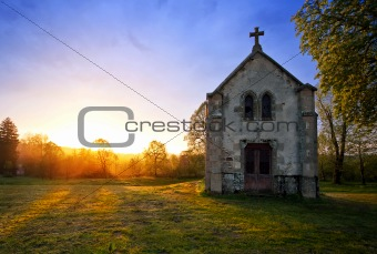 Chapel and sunset