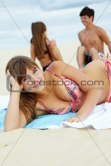 Girl sunbathing