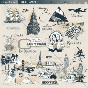 Vintage travel symbols