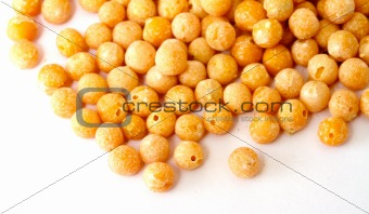 A small handful of chick-pea. Beans isolated on a white backgrou