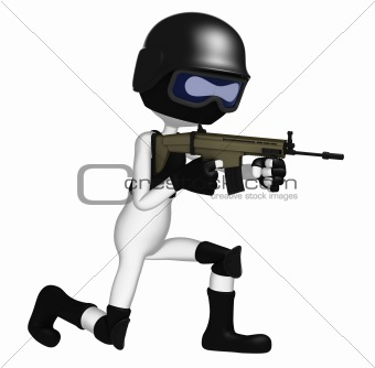 3d Soldier aiming assault gun