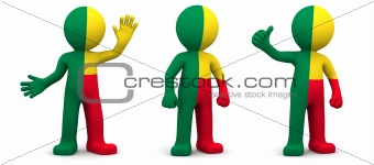 3d character textured with flag of Benin