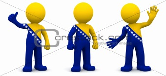 3d character textured with flag of Bosnia and Herzegovina