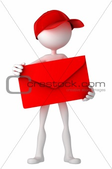 Postman holding envelope