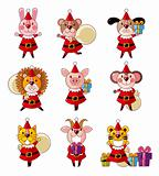 cartoon animal Santa Claus,xmas holiday