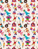 cartoon happy circus seamless pattern
