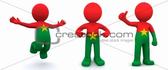 3d character textured with flag of Burkina Faso
