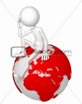 3d man sitting on Earth globe in a thoughtful pose