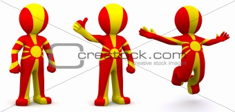 3d character textured with flag of Macedonia