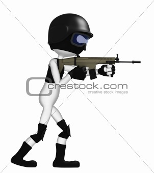 3D soldier with a rifle
