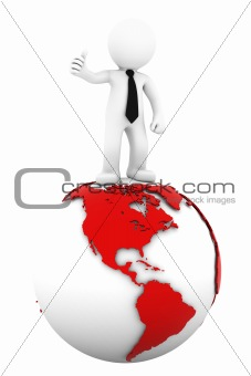 3d Businessman standing on earth globe: American side