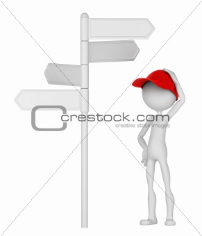 3d Man standing under signpost in a thoughtful pose.