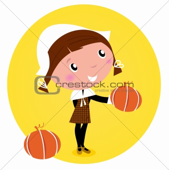 Cute Thanksgiving / Pilgrim Girl with pumpkin head - isolated on