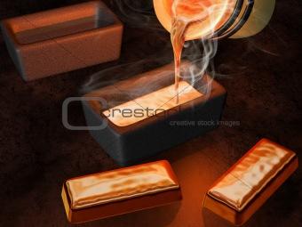 Gold ingot casting