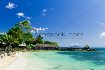 Blue lagoon and a pier in tropical resort, Seychelles