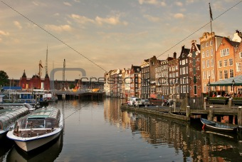 Amsterdam cityscape at evening.