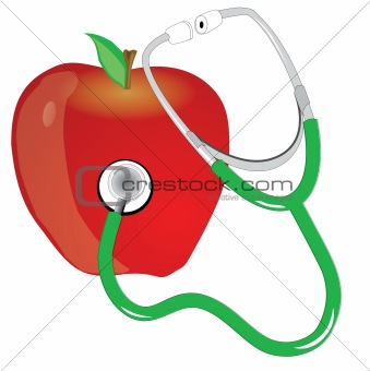 stethescope and red apple