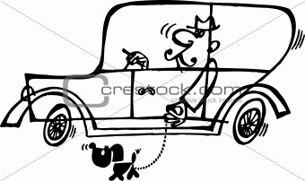 Man in the car and his dog