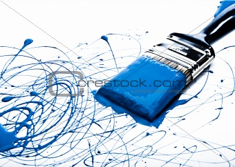 Blue Paint on Paint Brush