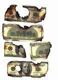 00 dollar bills burned
