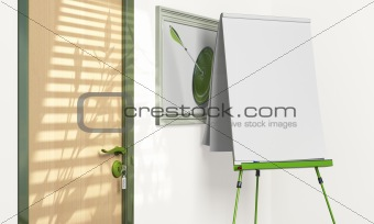 blank flipchart inside a meeting room