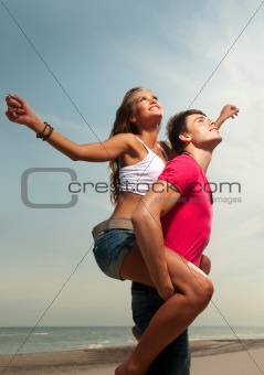 the guy holding the girlfriend