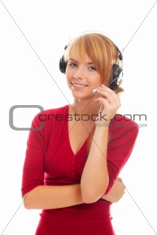 friendly young woman on-line operator in headphones