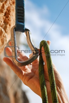 A climbers rope and quick-draws