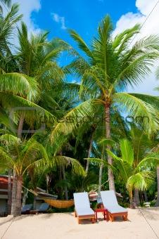 Beach chairs on perfect tropical white sand beach
