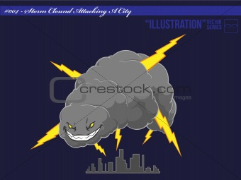 Illustration #004 - Storm Cloud Attacking A City