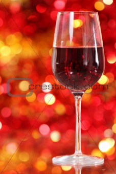 One glass of the red wine