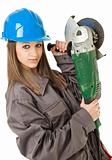 Female worker grinder