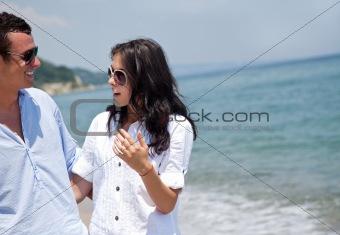 couple beach talk