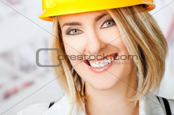 Female smiling hardhat