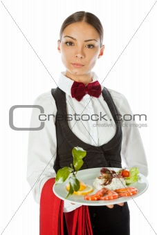Waitress dish seafood
