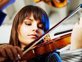 beautiful violinist playing