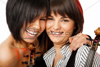 cheek to cheek smiling violinists