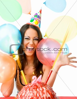 Female celebrating birthday