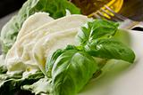 Buffalo Mozzarella with lettuce and basil