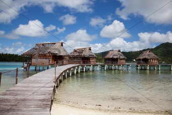 South Pacific water bungalows ruins