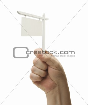 Blank Real Estate Sign In Male Fist Isolated On a White Background.
