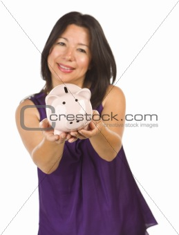 Smiling Hispanic Woman Holding Piggy Bank Isolated on a White Background.