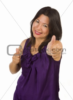 Happy Hispanic Woman with Thumbs Up Isolated on a White Background.