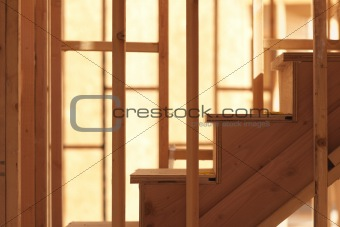 Abstract of Wood Stairs in Home Construction Site.