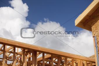 Abstract of Wood Home Framing at Construction Site.